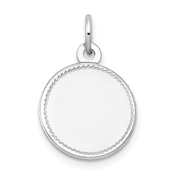 14k White Gold Plain .018 Gauge Round Engravable Disc Charm