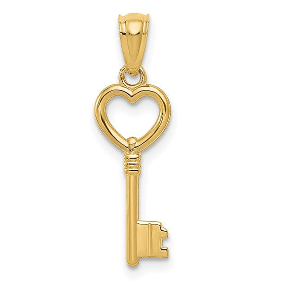 14kt Yellow Gold Heart Key Pendant