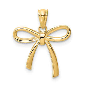 14k Gold Polished Small Ribbon Bow Pendant