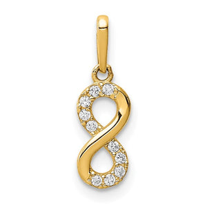 14kt Yellow Gold with Cubic Zirconia Infinity Symbol Pendant