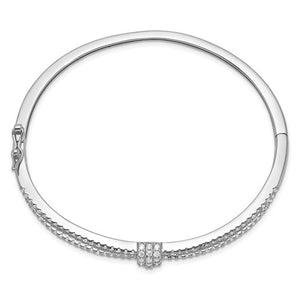 Sterling Silver Rhodium-plated CZ Bangle