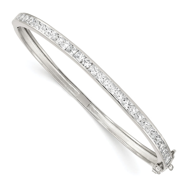 Sterling Silver Oval CZ Hinged Bangle