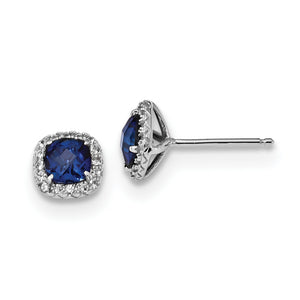 Blue And White Sapphire Post Earrings