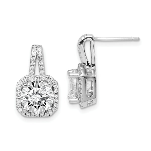 Rhodium-Plated CZ Halo Post Earrings