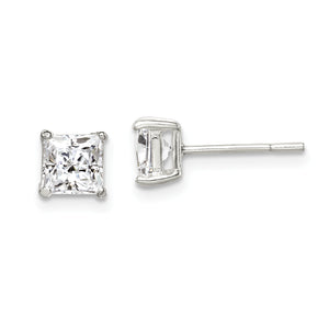 Silver Princess Cut Basket Stud Earrings