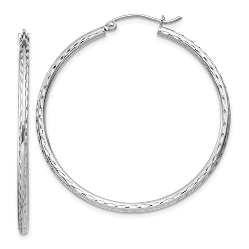 Sterling Silver Rhodium-plated 2.00mm Diamond Cut Hoop Earrings