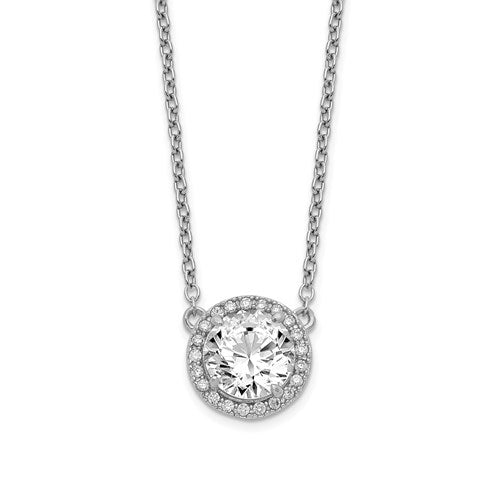 Sterling Silver Rhodium-plated Round CZ Halo with 1in ext Necklace