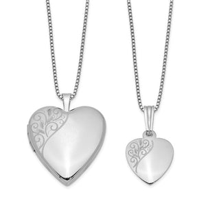 Sterling Silver Rhodium-plated Polished Swirl Design Matching Heart Locket Necklaces