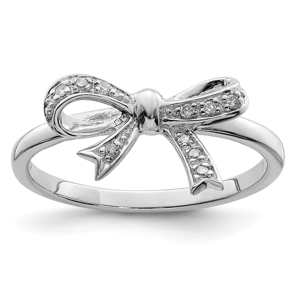 Sterling Silver Diamond Bow Ring