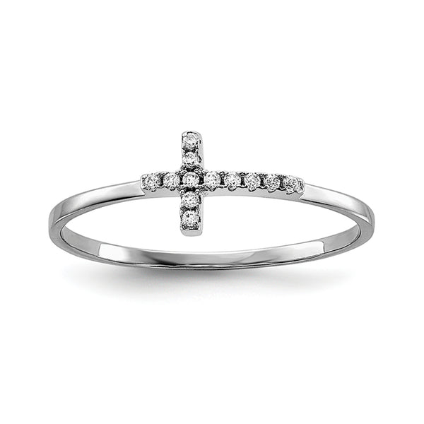 Sterling Silver Side Cross Polished Ring