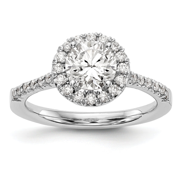 14kw Round Halo Engagement Diamond Semi-Mount Ring