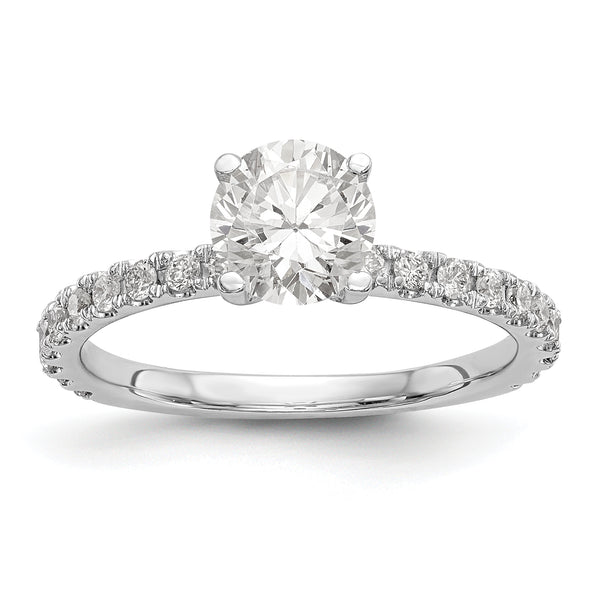 14K White Gold Diamond Semi-Mount Engagement Ring (Round)