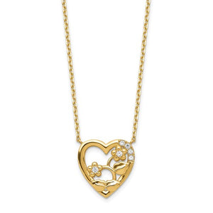 14K Heart with Flowers and CZ Necklace