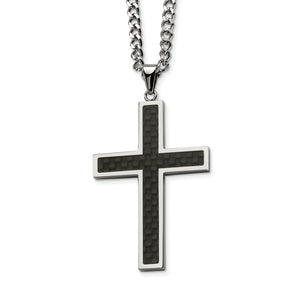 Black Carbon Fiber Cross 24in Necklace
