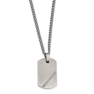 Small Brushed Dog Tag Necklace