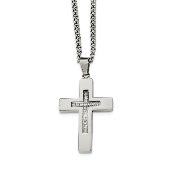Polished CZ Cross Necklace