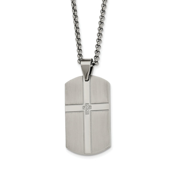 Stainless Steel CZ Cross Dog Tag Necklace