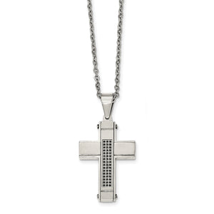 Polished Black CZ Cross Necklace