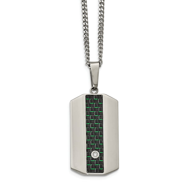 Blk/Green Carbon Fiber Dogtag Necklace