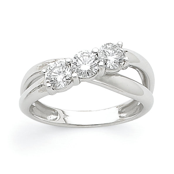 14k White Gold VS Diamond Three Stone Ring