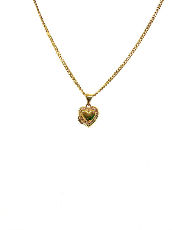 14kt Yellow Gold Heart Locket Pendant & Chain