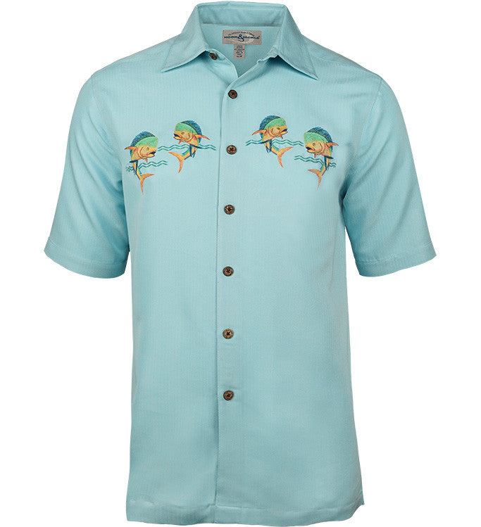 Men 39 s let 39 s dance fishing shirt hook tackle for Embroidered fishing shirts