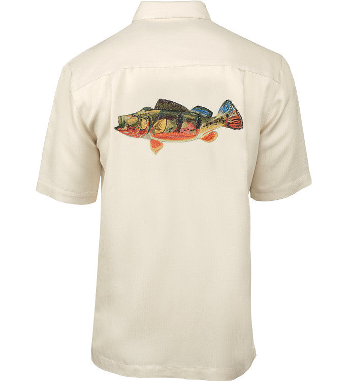 Men 39 s peacock bass fishing shirt hook tackle for Embroidered fishing shirts