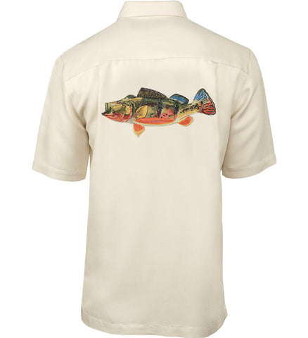 Men's Peacock Bass Embroidered Fishing Shirt