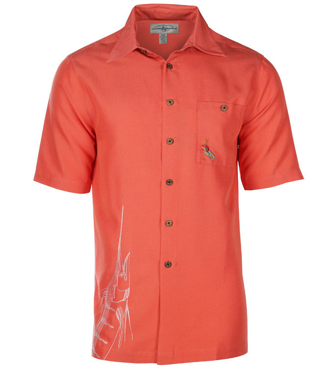 Men 39 s big billy shirt for fishing hook tackle for Embroidered fishing shirts