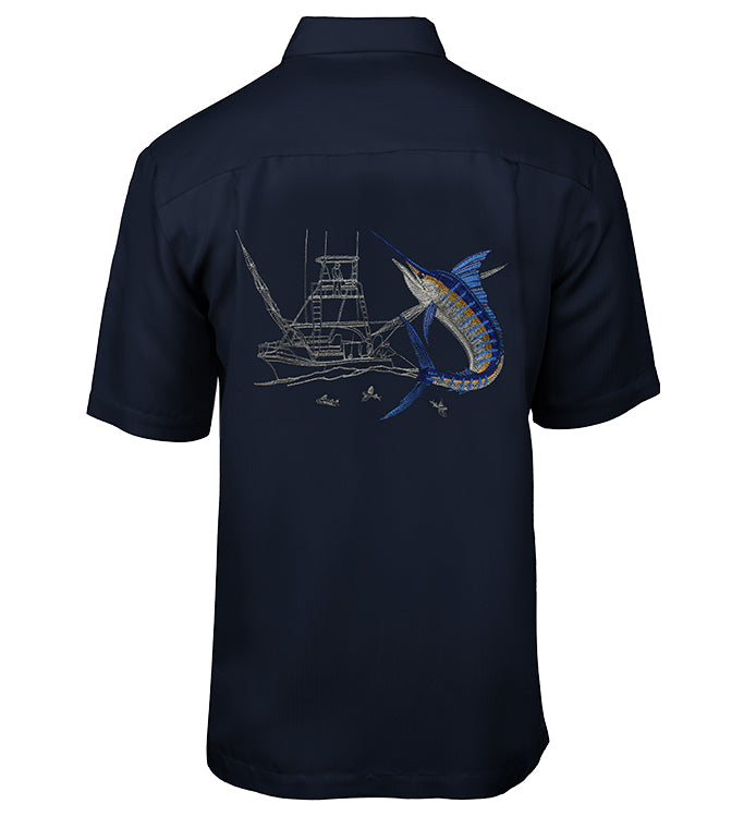Men's Marlin Boat Embroidered Fishing Shirt