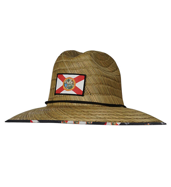 Florida Lifeguard Fishing Stretch Fit Straw Hat