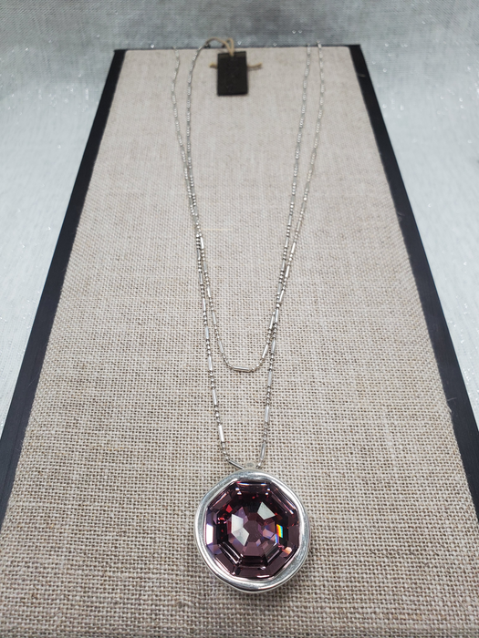 "Uno De 50 ""On My Own"" Long Layered Pink Swarovski Crystal Necklace"