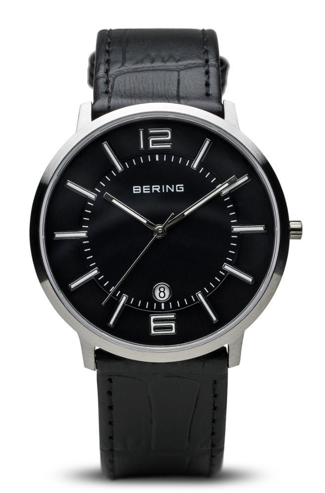 Bering Unisex Brushed Silver w/Black Leather Strap