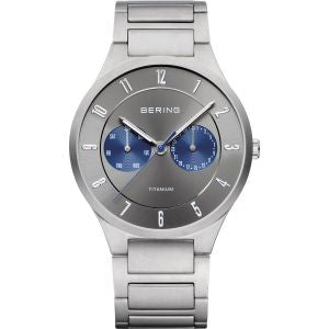 Men's Titanium Silver and Blue Watch