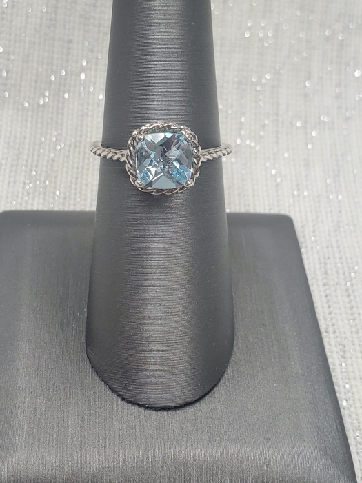 Sterling Silver Cushion Sky Blue Topaz Rope Ring