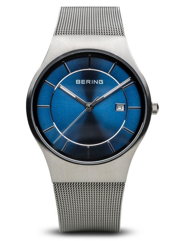 Bering Men's Brushed Silver and Striking Blue Dial