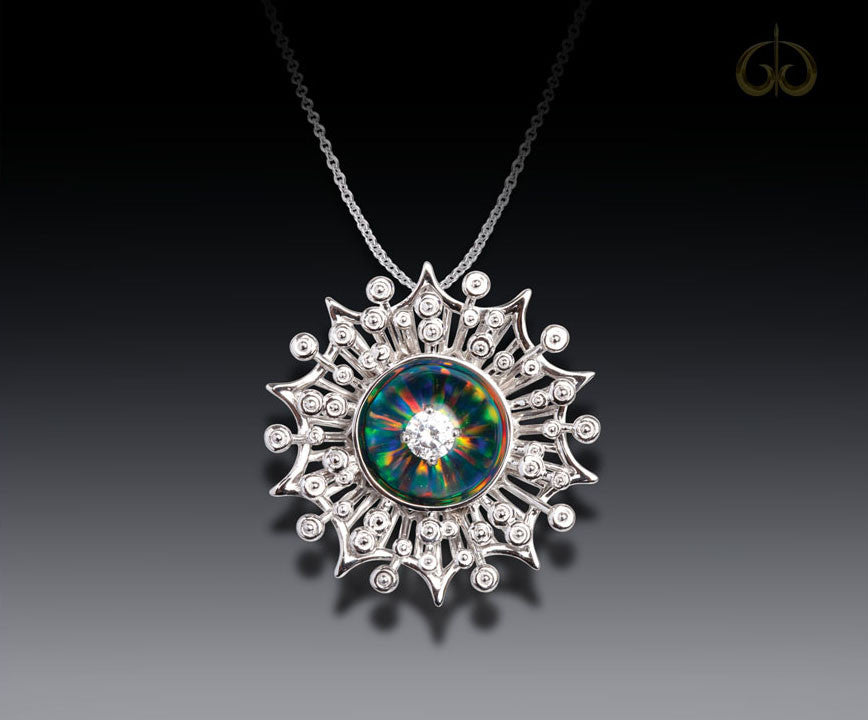 14K White Black Opal And Diamond Starburst Pendant