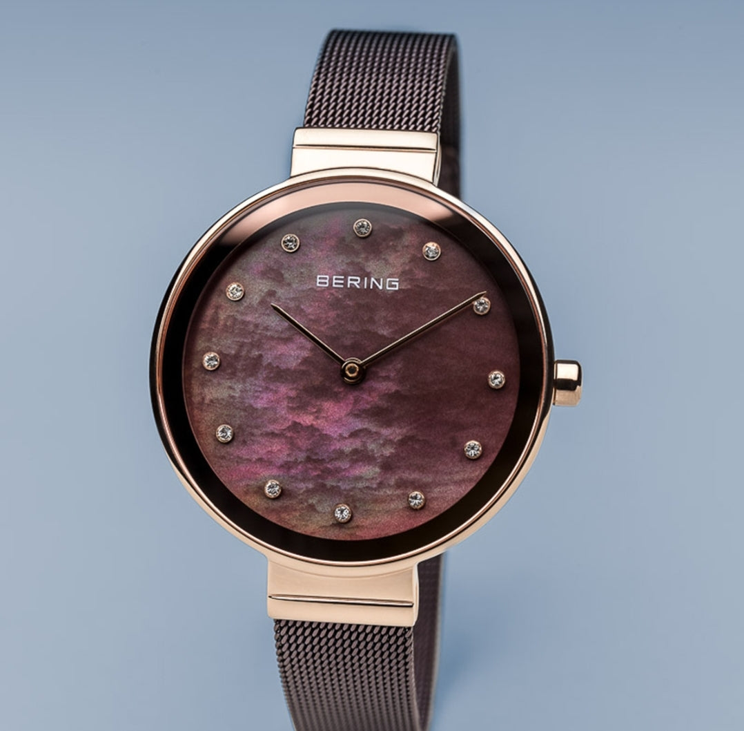 Bering Women's Rose Gold  & Mother of Pearl face