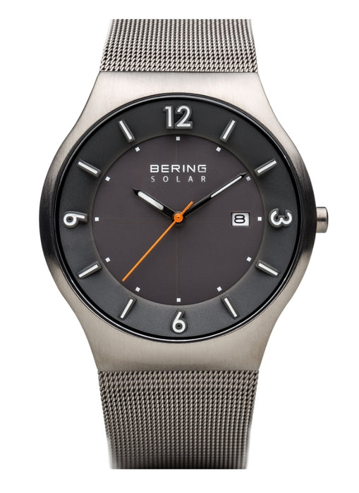 Bering Men's Solar Brushed Grey w/Milanaese Strap