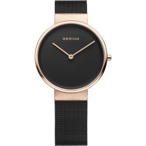 Woman's Rose Gold And Black Milanese Watch