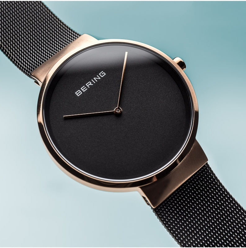 Bering Men's Rose Gold Face w/ Black Dial and Milanaese Strap