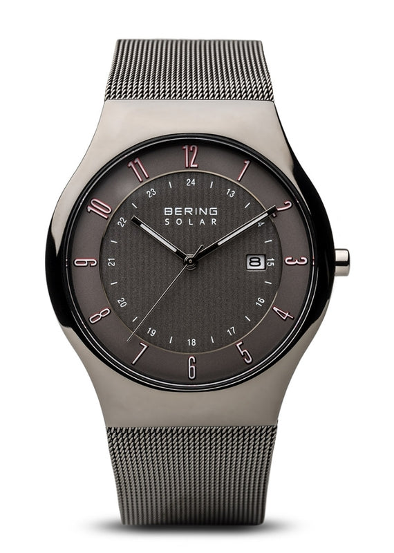 Bering Men's Slim Solar Grey Round Face w/Milanaese Strap