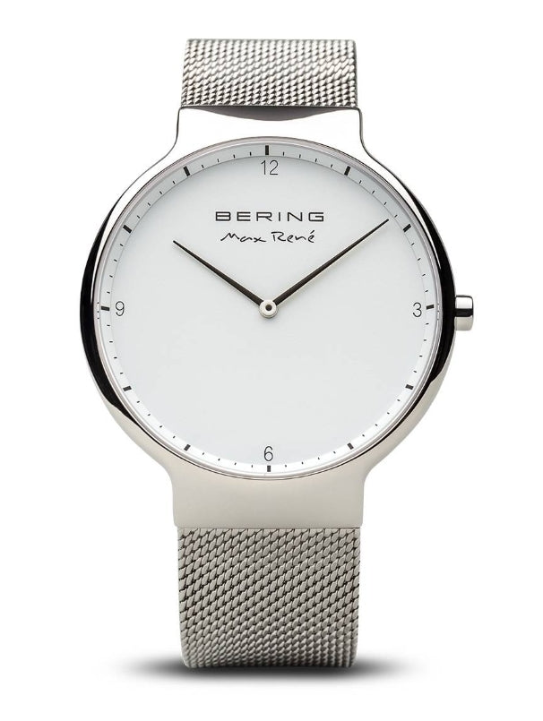 Mens Silver and White Milanese Watch