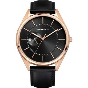 Men's Rose Gold and Black Calfskin Leather Watch