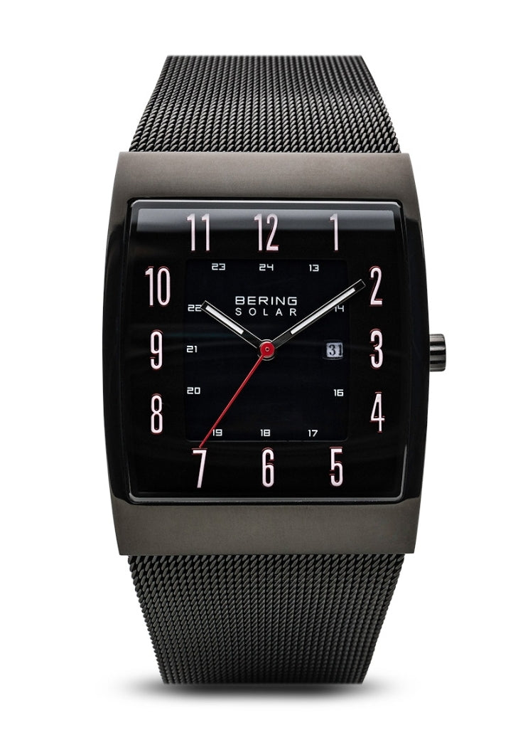 Bering Men's Slim Solar Black Square Face w/Milanese Strap