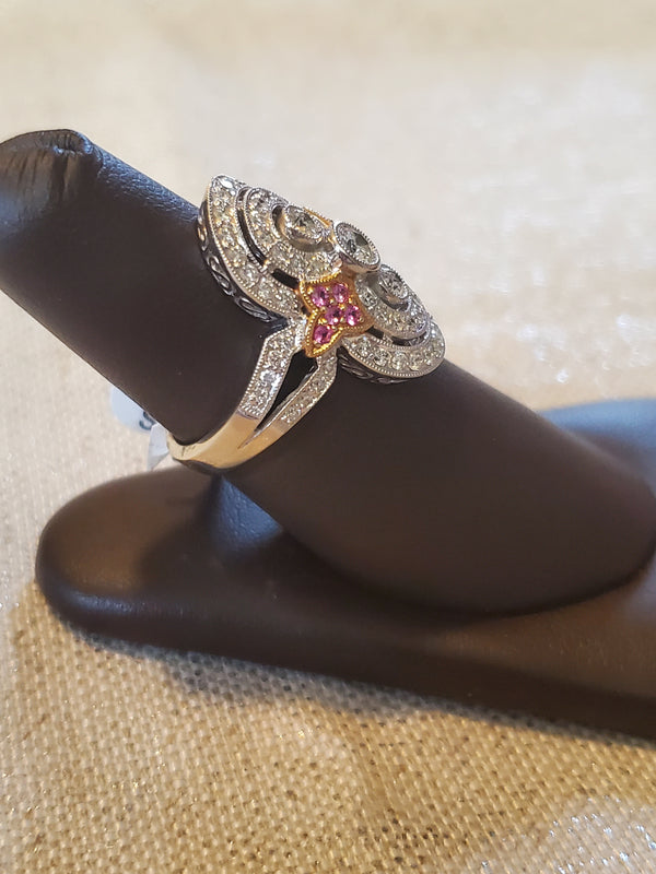 Vintage 14KW Diamond & Pink Sapphire Cocktail Ring