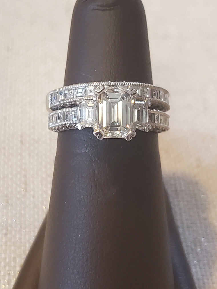 Tacori 3 Emerald Cut Stone Platinum Wedding Set