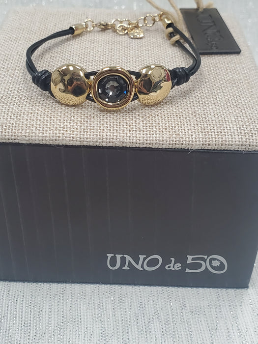 "Uno De 50 ""Too Much"" 18KY Plated & Leather w/Gray Swarovski Crystal Bracelet"