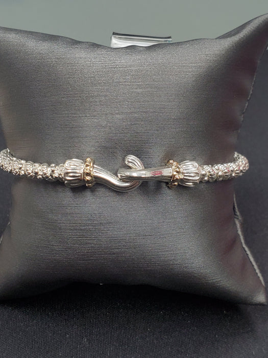 ALWAND VAHAN STERLING SILVER AND 14KY INTERLOCKING HOOK BRACELET