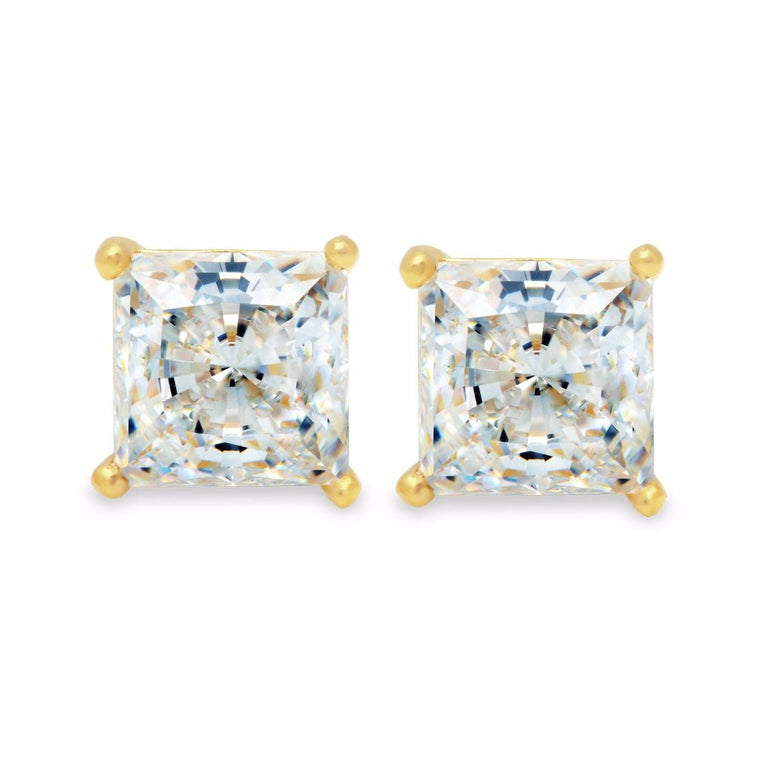 Solitaire Princess Earrings 2.50 Carat Finished in 18kt Gold